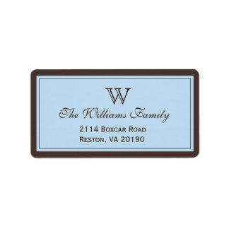 Brown & Light Blue Classic Border Label