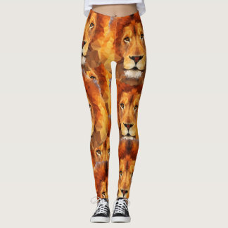 Brown Lion Head Print 2 All Over Print Leggings