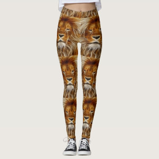 Brown Lion Head Print Leggings