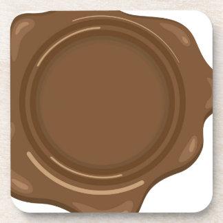 Brown liquid wax seal vintage coaster