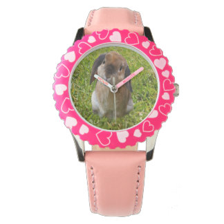 Brown Lop Ear Bunny  Girl Pink Heats Leather Watch