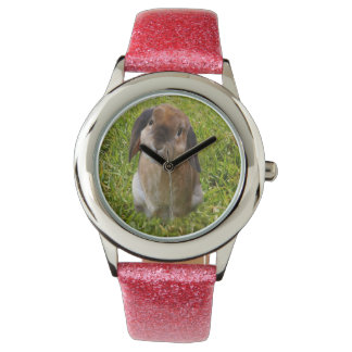 Brown Lop Ear Bunny , Girls Pink Glitter Watch