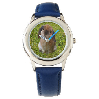 Brown Lop Ear Bunny , Kids Blue Leather Watch