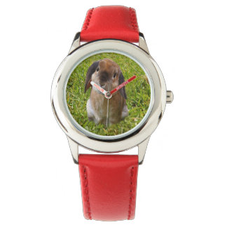 Brown Lop Ear Bunny , Kids Red Leather Watch