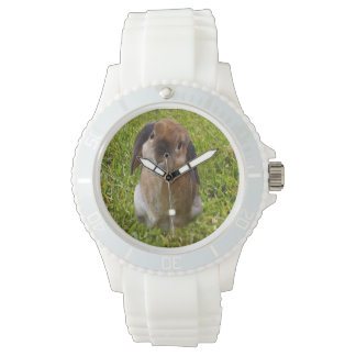 Brown Lop Ear Bunny,  Ladies White Sports Watch