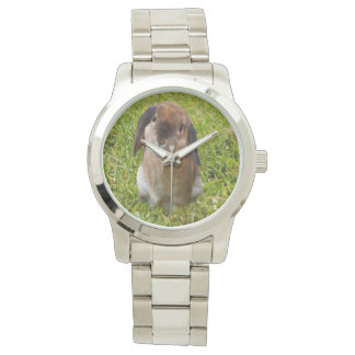 Brown Lop Ear Bunny, Large Unisex Silver Watch