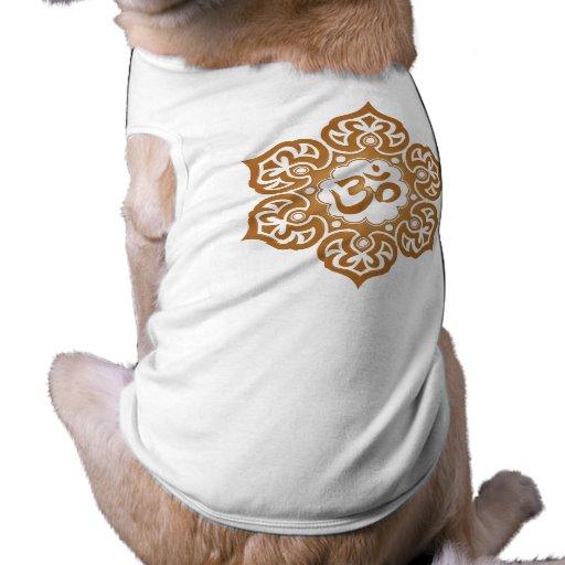 Brown Lotus Flower Om Pet T Shirt