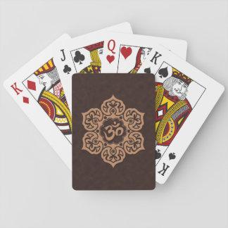 Brown Lotus Flower Om Poker Cards