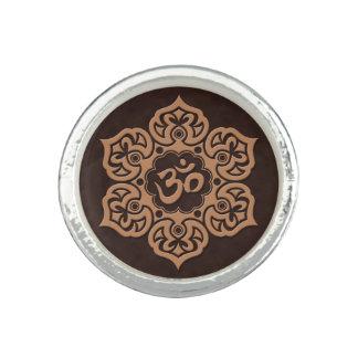 Brown Lotus Flower Om Photo Ring