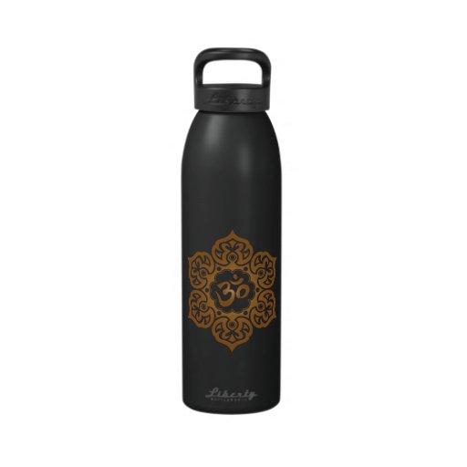 Brown Lotus Flower Om Water Bottle
