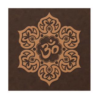 Brown Lotus Flower Om Wood Canvas