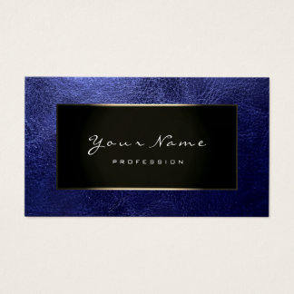 Brown Manager Blogger Champagne Gold Leather Navy Business Card