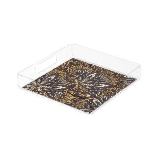 Brown mandala pattern acrylic tray
