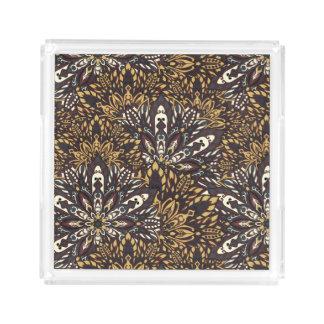 Brown mandala pattern. acrylic tray