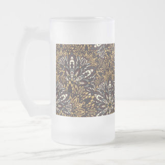 Brown mandala pattern. frosted glass beer mug