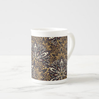 Brown mandala pattern. tea cup