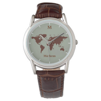 brown map of the world wrist watches
