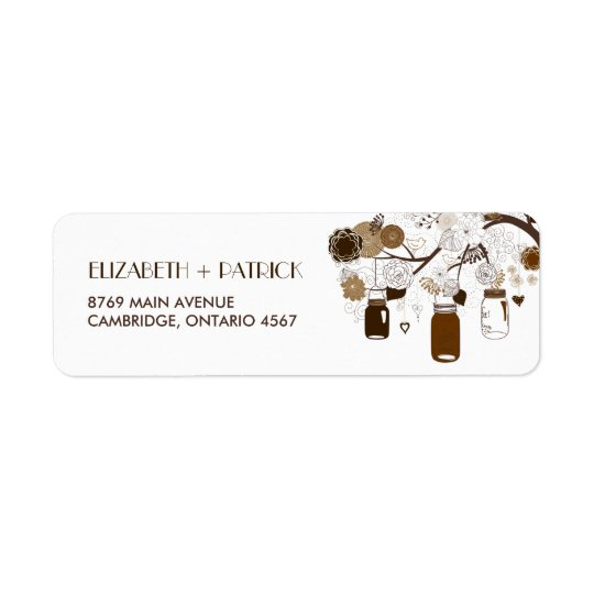 Brown Mason Jars and Flowers Autumn Address Label