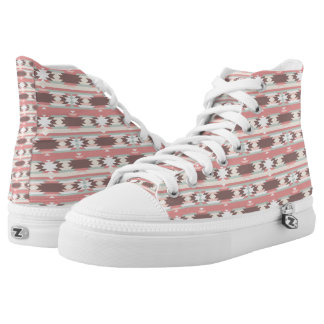 Brown, Mauve & Green Aztec Pattern High Top Shoes