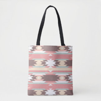 Brown, Mauve & Green Aztec Patterned Tote Bag