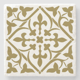 Brown medieval style ornament Stone Coaster