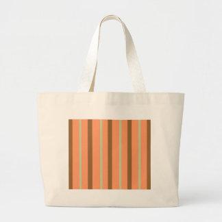 Brown Melon Stripe Large Tote Bag