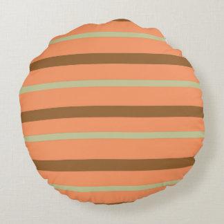 Brown Melon Stripe Round Pillow