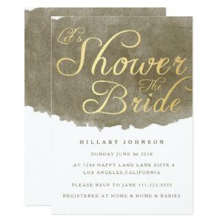 Brown Minimalist Watercolor Brush Bridal Shower Card