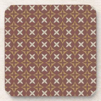 Brown Modern Indonesia Javanese Batik Kawung Coasters
