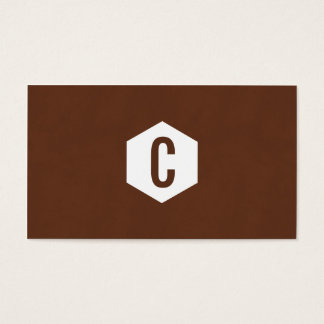 Brown monogram with hexagon business cards