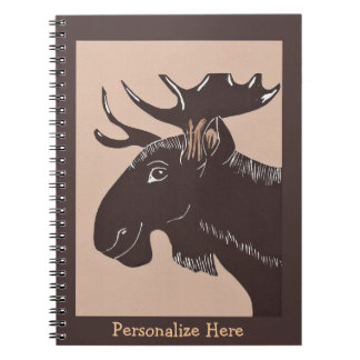 Brown Moose Art Personalized Notebook
