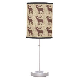 Brown moose burlap pattern table lamp