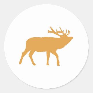 Brown Moose Round Sticker