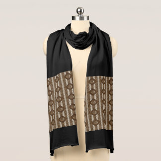 Brown Multi-Print Jersey Scarf