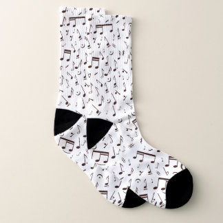 Brown Musical Note Pattern on White Music Lover Socks