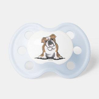 Brown n White English Bulldog Sit Pretty Pacifier