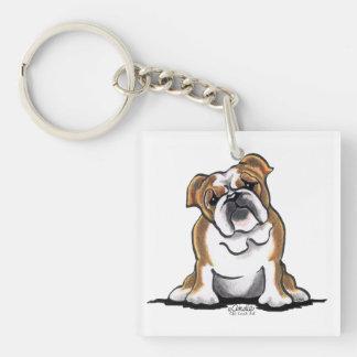 Brown n White English Bulldog Sit Pretty Single-Sided Square Acrylic Keychain