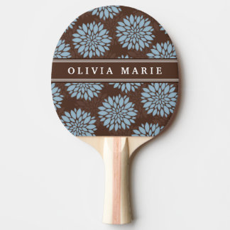 Brown Name Baby Blue Flower Blossom Pattern Ping Pong Paddle