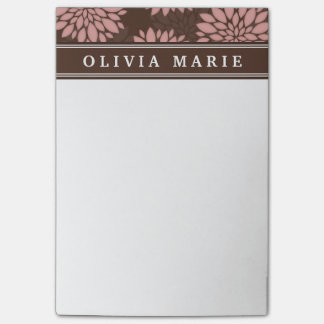 Brown Name Blush Pink Flower Blossom Pattern Post-it Notes