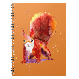 brown note book with handpainted squirrel
