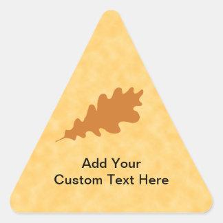Brown Oak Leaf Design. Triangle Sticker