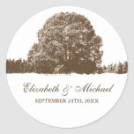 Brown Oak Tree Fall Wedding Favour Label Round Stickers