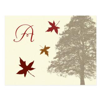 Brown Oak Tree Wedding Monogram Response Card Postcard
