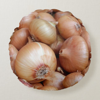Brown Onions Round Pillow