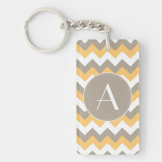 Brown, Orange and White Chevron Pattern Keychain