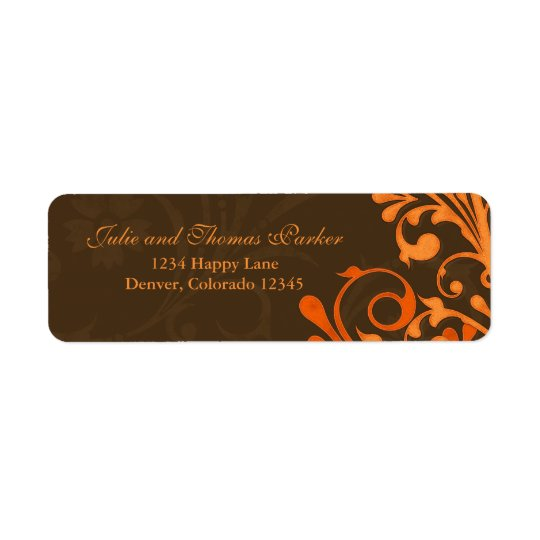 Brown Orange Floral Fall Wedding Return Address