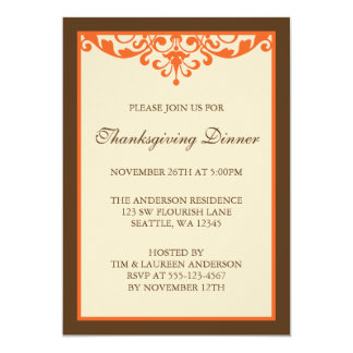 Brown & Orange Flourish Scroll Thanksgiving Dinner Card