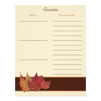 Brown Orange Ivory Dried Leaves Guest Book Paper
