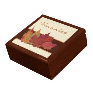 Brown Orange Ivory Dried Leaves Jewelry Box