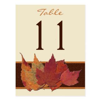 Brown Orange Ivory Dried Leaves Table Number Card Postcard